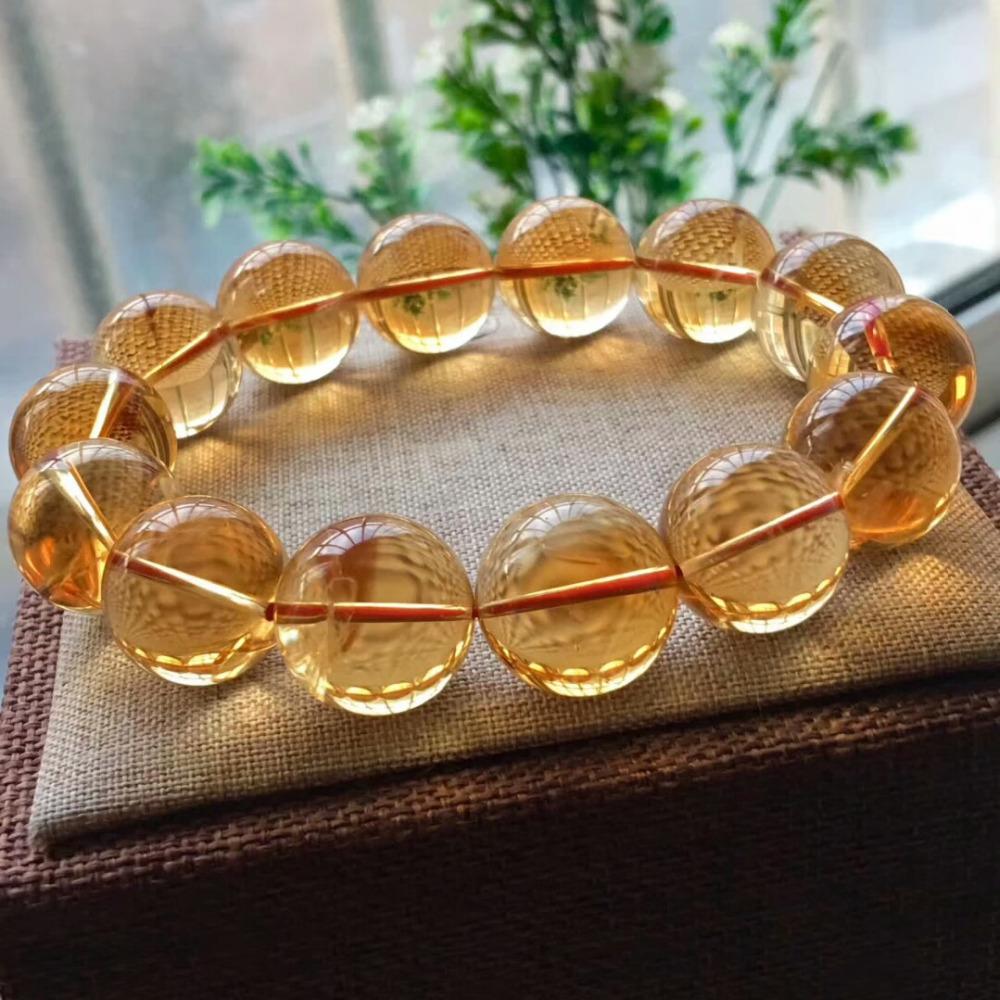 17mm Natural Citrine Quartz Crystal Yellow Bracelet Round Beads Wealthy Gemstone Stone Stretch Woman ManAAAAAA (3)