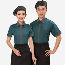 Hotel Work Clothing Unisex Women and Mens Short Sleeve Hotel Cafe Hot Pot Restaurant  Cheap Staff Uniforms Free Shipping