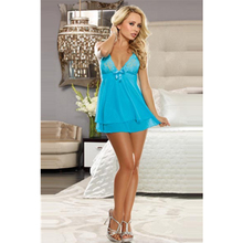Satin Bow Open Back Woman Blue Nighty Cheap Babydoll Sleepwear Most Seductive Lace Night Sleepwear Young Sheer Adult Lingerie(China)