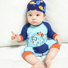 2017 Cheap Baby Boy Girl Swimwear One Piece Swimming Clothes with Cap New Summer Cartoon Models Children's Swimsuit High Quality