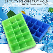 15 Cavity Square Silicone Ice Cube Candy Chocolate Mold Food grade Non-stick Barware for Microwave and Refrigerator