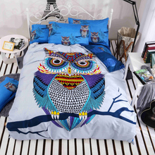 owl style 4/3pcs cotton bedding 3d bed linen duvet cover bed sheet pillowcases full/twin/queen bed(China)