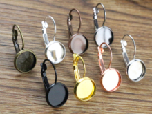 10mm 10pcs 8 Colors Plated French Lever Back Earrings Blank/Base,Fit 10mm Glass Cabochons,Buttons;Earring Bezels
