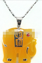 Free shipping Jewelr 005816 New Arrived Yellow Elephant Pendant Necklace 17''(China)