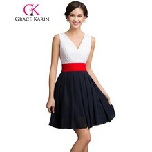 Grace Karin Sleeveless V Neck Chiffon Short Cocktail Dress Sexy Mini Club Party Prom Gowns Red Sash Robe De Cocktail Dress 2017(China)