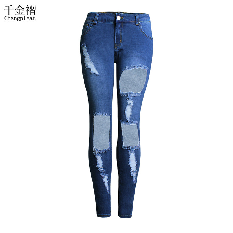 Plus Size Fashion Ripped Jeans For Women with Midi Waist Washed Jeans Summer Holes Skinny Stretch Pencil Denim Womens Jeans J98Одежда и ак�е��уары<br><br><br>Aliexpress