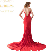 Backless Pleated Knitting Fabric Long Mermaid Evening Dress Formal Gown  robe de soiree abendkleider 49d8a0203bc9