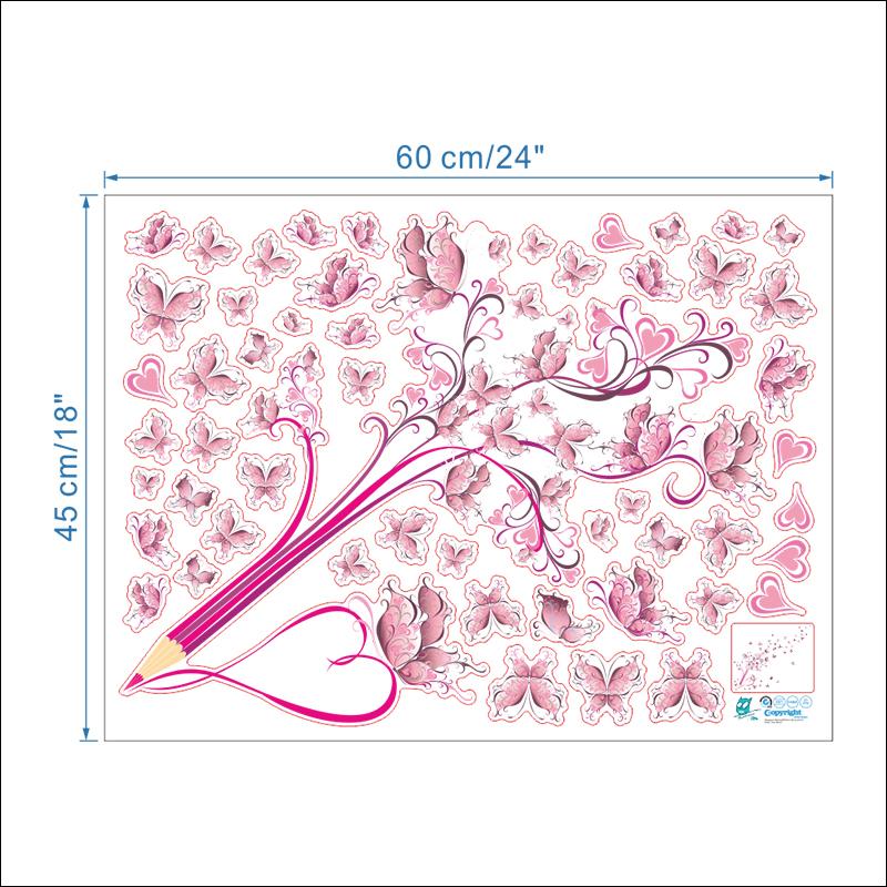 HTB1lnKLxv9TBuNjy1zbq6xpepXa8 - Flying Pink Butterfly Flower Blossom Pencil Tree Wall Sticker