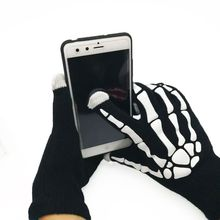 Skull Pair Of Soft Winter Unisex Touch Screen Gloves Texting Capacitive Phone(China)