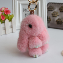 Free shipping Fashion mink fur Cute Funny Copenhagen bunny little monster Plush toys Bag Bugs accessories pendant Karlito