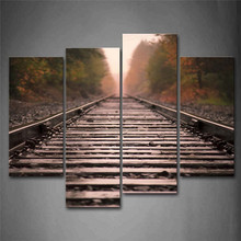 Wall Pictures For Living Room Sunny and Quiet Railway Modular Picture 4Pcs Unframed Painting Canvas Printing HD Wall Art Poster