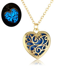 Luminous Love Heart Pendant Necklace Orange Green Blue Gleamy Lights Lovers Valentine's Day Collares Gift