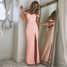2017 Sexy Slash Neck Strapless Side Split Long Party Dress Off Shoulder Tight Package Hips Elegant Floor Length Dress KH824268