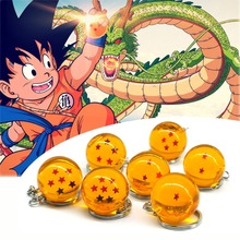 Zoeber Dragon Ball Z Keychain Cartoon DBZ Child anime 2.7CM Crystal Ball 1-7 Stars cosplay ball Keyrings car bag key holder