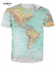 3d Urban Map T-Shirt Retro Globe Image Of Americas Tops Tees Men Women Travel The World Vibrant T Shirt Hispter Sexy Outfit