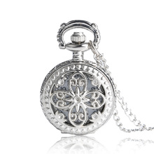 Xmas Gift Free Shipping 2017 New Antique Vintage Hollow Butterfly Long Necklace Pendant Quartz Pocket Watch Clock Women P605(China)