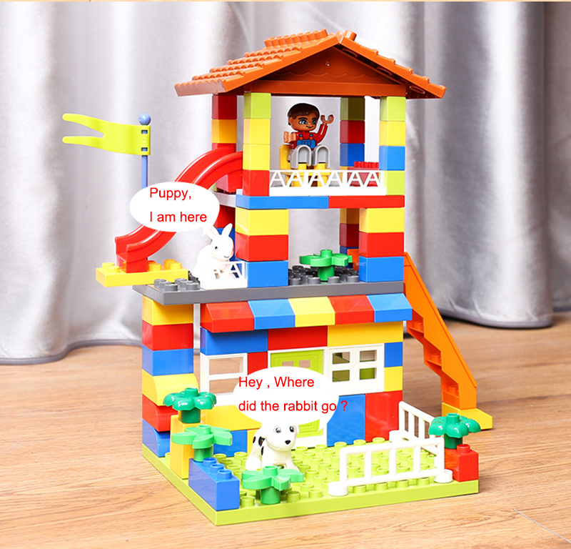 DIY Colorful City House Roof Big Particle Building Blocks Castle Educational Toy