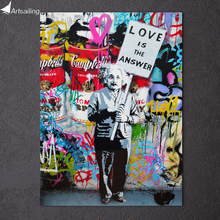 HD Printed 1 piece canvas art Banksy graffiti spray Einstein love is the answer Painting poster free shipping ArtSailing(China)