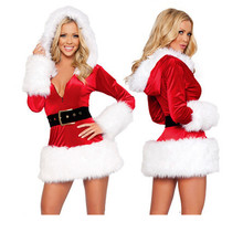 High Quality Red Black Sexy Ladies Velvet Dress santa costumes Adult Mrs Santa Claus Outfit for Women hooded belt Christmas dres