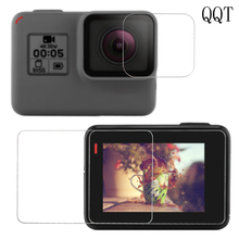 QQT For GoPro Hero 5 Black Tempered Glass Protector Case Cover Front Camera Lens Ultra-Clear LCD Screen Protective Film(China)