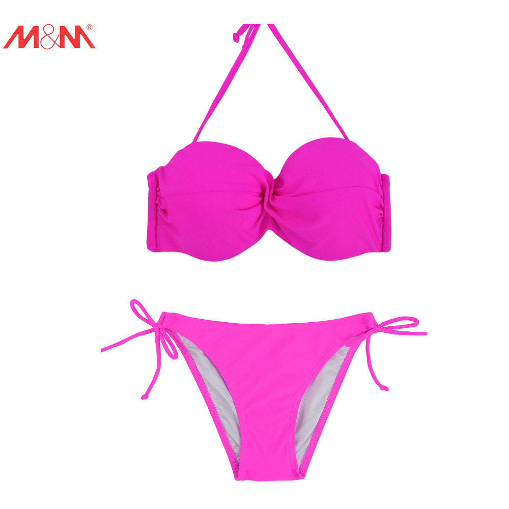 M&amp;M Sexy Push UP Bikini for Women Beach Swimsuits Bikini 2017Low Waist Bath Suit String Swimwear Tie Side Halter Bikini Set<br><br>Aliexpress