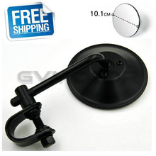 "BLACK Vintage Cafe Racer 4"" Clamp-On Tinted Mirror Rearview Mirrors Moped Motorcycle Backup Mirror Made in TAIWAN Free Shipping"