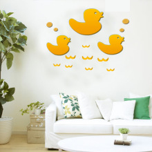 2pcs Yellow Duck Pattern Mirror Wall Stickers Living Room Bedroom Baby Room Kids Room Restaurant Decorative Mirror Stickers(China)