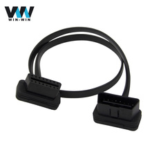 Wholesale OBD1 TO OBD2 Flat Thin As Noodle OBDII OBD2 16Pin Male To Female Elbow Extension Cable With High Quality(China)