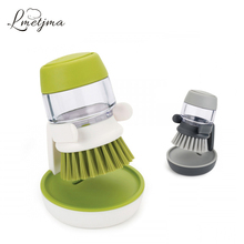 LMETJMA Automatic Pot Dish Bowl Brush With Detergent Pot Cleaning Brush Self Release Dish Wash Liquid Kitchen Clean Tool T0605-1