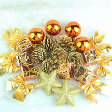 24 pcs/Pack Christmas Ornament Mini Gift Box Stars Ball Pinecone Baubles Christmas Tree Pendant Xmas Ornaments Decorations