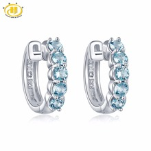 Buy Hutang Natural Aquamarine Hoop Earrings Solid 925 Sterling Silver Round Gemstone Fine Jewelry Women's Accessories w gift box for $39.99 in AliExpress store