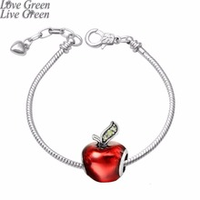 Christmas Eve Apple bracelet red Lucite Peace God son coming best wish love bracelet jewelry snake chain 3 mm 70013(China)