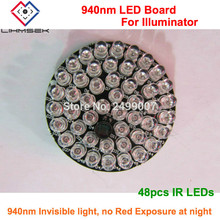 Lihmsek 48pcs LEDs 940nm IR infrared Lights LED Board for Dome type CCTV IR Illuminator Lamp, No red exposure at night, Lihmsek(China)
