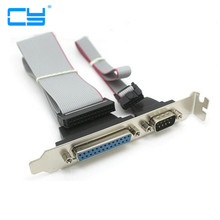 Serial DB9 Pin COM with Parallel DB25 Pin LPT Cable With PCI Slot Header Bracket(China)