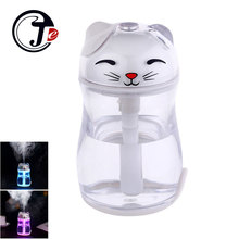 Lucky Cat Ultrasonic Fogger Water Humidifiers for Home Appliances Essential Aroma Diffuser USB Air Car Humidifier with LED Bulb(China)