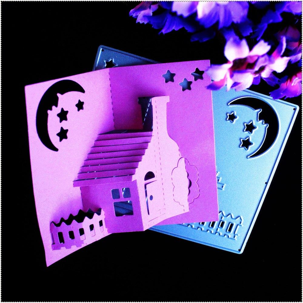 Metall stanzformen 3d stereo haus nacht mond sterne diy scrapbook karte papier handwerk dekoration präge schablonen