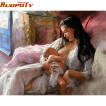 RUOPOTY Mother Love DIY Painting By Numbers 40X50 Europe Vintage Painting Kit Handpainted Acrylic Paint On Canvas For Home Decor
