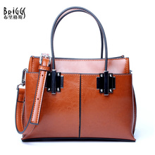 BRIGGS 2017 New 100% Luxury Genuine Leather Women Bag High Quality Vintage Real Leather Shoulder Bags Office Lady Handbags(China)