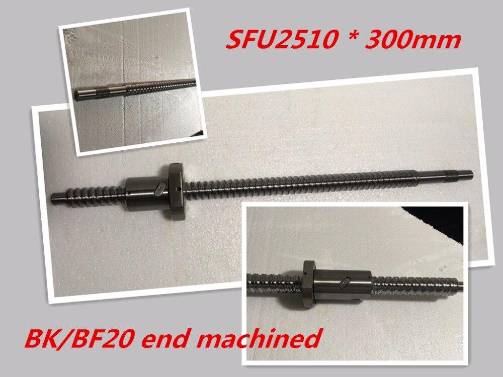 1pc 25mm Ball Screw Rolled C7 ballscrew SFU2510 300mm BK20 BF20 end processing+1pc SFU2510  Ballscrew nut<br>