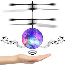 Chamsgend RC Toy EpochAir RC Flying Ball RC Drone Helicopter Ball Built-in Disco Music With Shinning LED Lighting for Kids