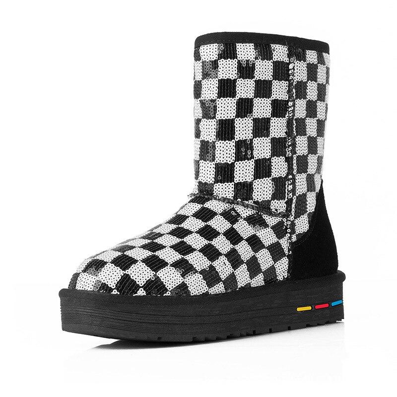2017 Winter New Snow Boots Women Warm Boots Black And White Plaid Sequins Cotton Boots Platform Bottes De Neige<br><br>Aliexpress