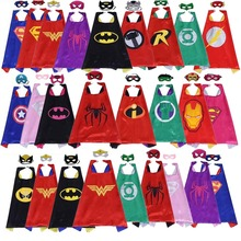 Classic kids superhero capes with masks double layers batman cape for children birthday party halloween cosplay costumes 70*70cm(China)