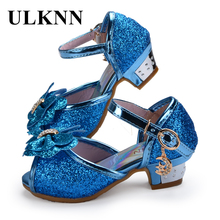 Enfants 2017 Children Princess Sandals Dress Shoes For Girl Butterfly Glitter Peep-toe Low Heels Fille Sandal Baby Girl Shoe(China)