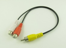1pc RCA Male Plug to 2 RCA Female Jack Y Splitter Audio Video AV Adapter Cable 27cm