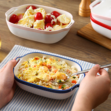 Creative Bakeware Ceramic Disc Oven Baked Rice Ears Rectangular Plates Baking Dish of Cheese Western-style Food Home
