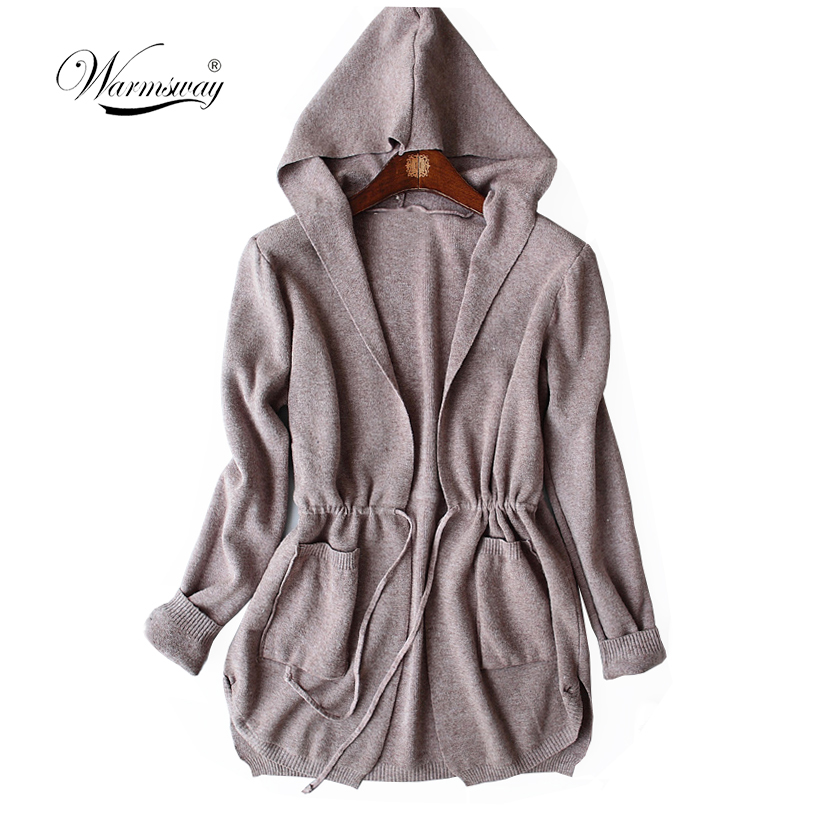 Warmsway Drawstring Waist Hooded Cardigan Women Open Front Full Sleeve Sweater 2018 Fall grey Stretchy Casual Cardigan C-118