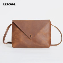 LEACOOL Women Real Crazy Horse Leather Tote Bag New Leisure Large Top-handle Bags Lady Casual Crossbody Shoulder Handbag(China)