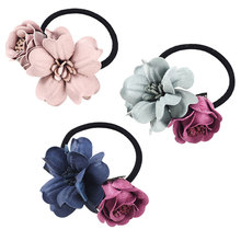 M MISM Girls Floral Scrunchy High Quality Elastic Hair Bands Popular Flower Rubber Bands Hair Accessories for Womens Ornaments(China)