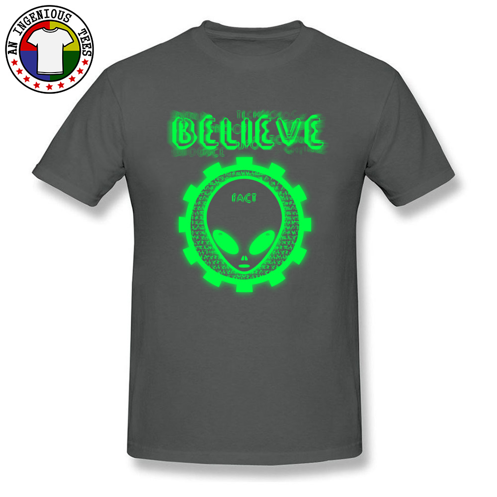 Believe Alien Fact Men Fashionable Tops Tees Crew Neck Summer 100% Cotton Top T-shirts Family Short Sleeve Tops Shirts Believe Alien Fact carbon