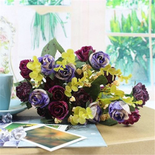 2017 New Purple 21 Heads DIY Wedding Party Home Decor Artificial Silk Peony Flower Leaf Bouquet